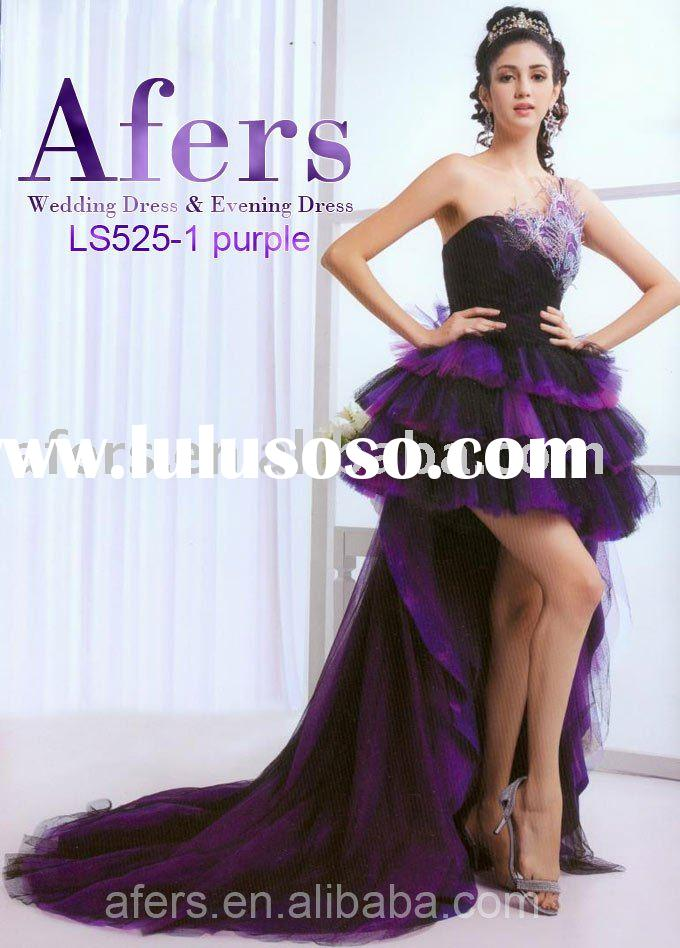 Afers short in front long prom dress,purple evening dress--NO.LS525-1
