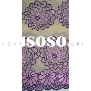 African lace fabric with embroidery