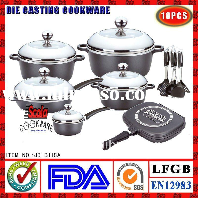 Aluminum Die-casting non stick cookware set induction bottom ceramic coating marble coating