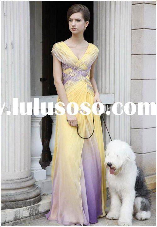 Angelica Woven Purple and Yellow Chiffon Women's Evening Dress