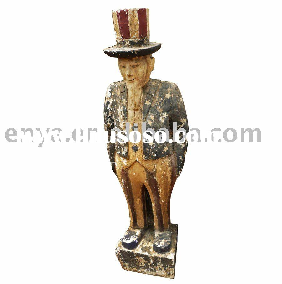 Antique Wood Carving Sculpture, Wooden Statue, Home Decoration