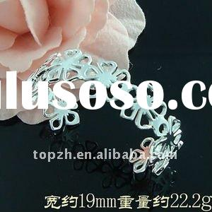 B226518 Fashion Jewelry 925 Sterling Silver Flowers links Cuff Bracelet Bangle