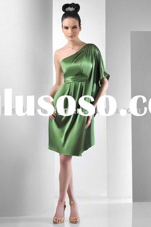 BD241 One shoulder kimono sleeve short charmeuse bridesmaid dresses