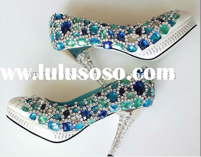 BS121 high quality blue rhinestones bridal crystal wedding shoes