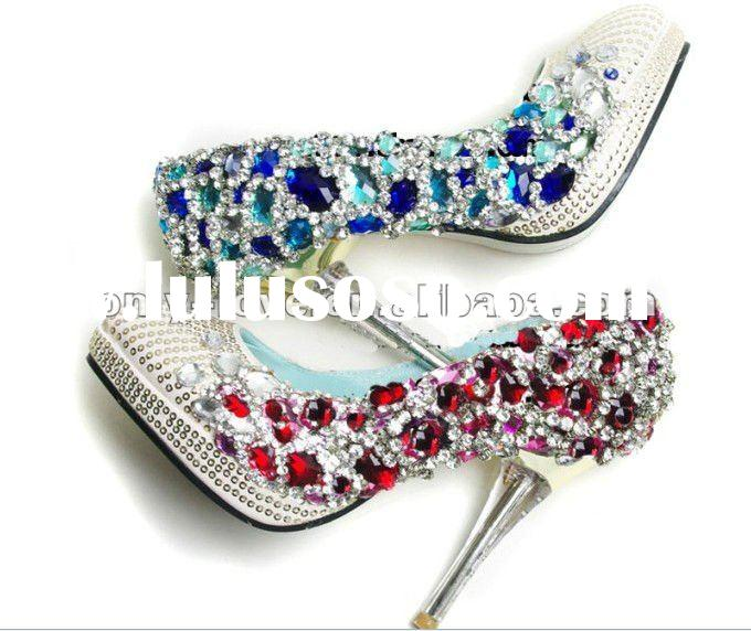 BS270 beautiful red crystal wedding shoes blue diamond bridal shoes
