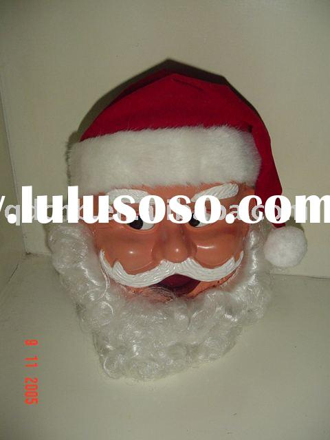 B/O Santa Head Eyes Mouth Movement with Fiber Light Battery Operated Action Musical Santa Claus Head