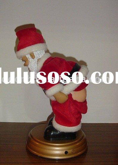 B/O Showing Bottom Dancing Lusty Santa Claus Musical Action Battery Operated Christmas Bare Bottom S