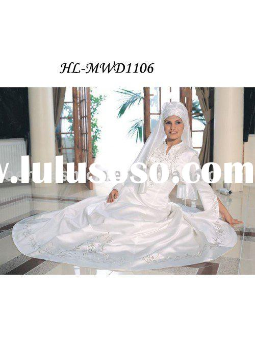 Beautiful Embroidery A-line long sleeves Muslim Bridal Wedding Dress HL-MWD1105