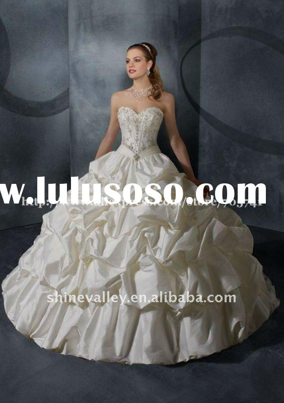 Brand New Style ML006 Sweetheart Neckline Pick-up Skirt Taffeta Ball Gown Wedding Dress