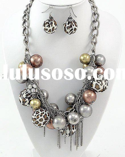 Burnished Silver Tone Brown Fabric Ccb Bead Lead nickel Compliant Charm Animal Print Necklace Fish H