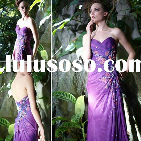 C56305 strapless lady long formal evening dress purple dress