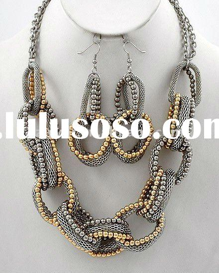 CHUNKY GOLG&SILVER STATEMENT BIB COSTUME JEWELRY NECKLACE SETS
