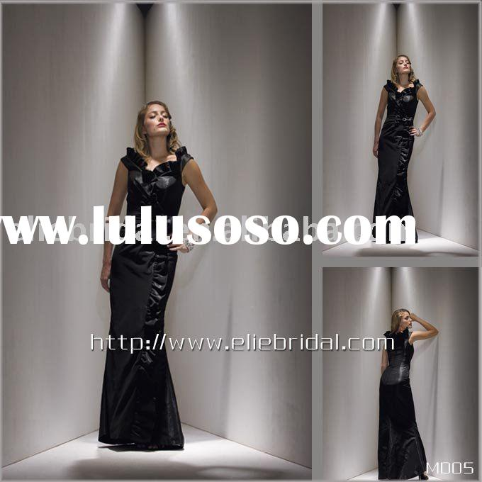 Cap sleeve taffeta and satin floor length Mother Dress,mother of the bride dresses