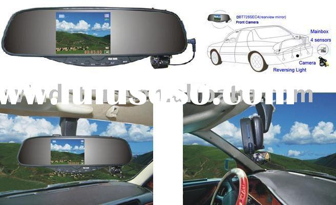 Car Security DVR Rearview Mirror With Front/backup Camera