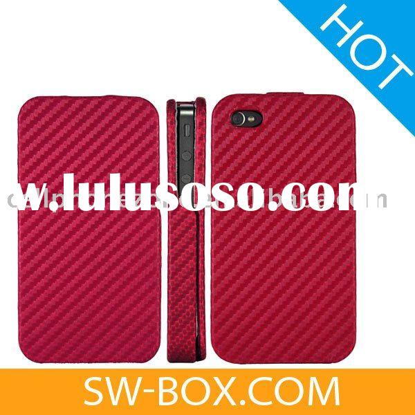 Carbon Fiber Flip Leather Hard Case Cover for iPhone 4 (Red) /for iphone 4 leather case