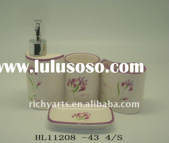 Ceramic bathroom accessories floral design handmade