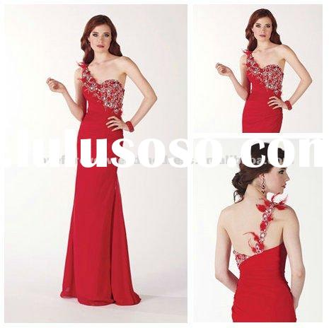 Cheap Price One Shoulder Long Red Evening Dress 2012