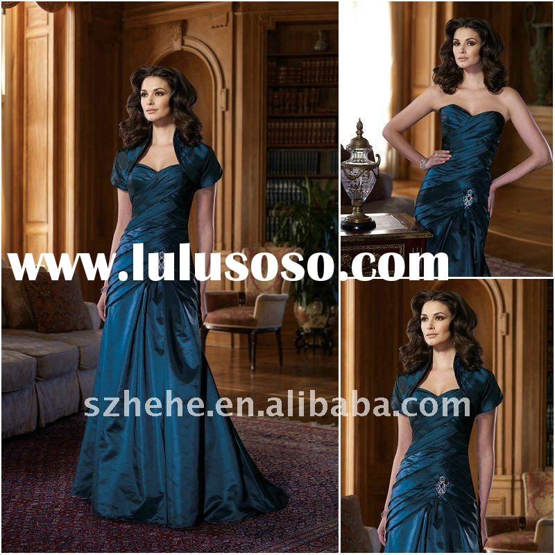Cheap price navy blue mother of the bride dress with short sleeve jacket