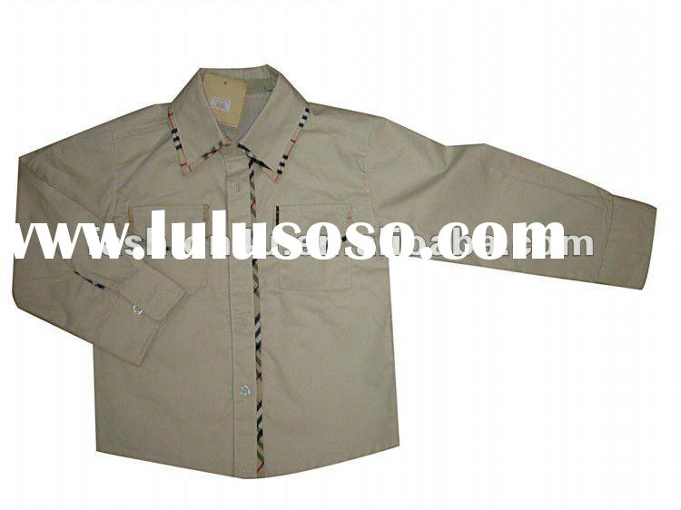 Children wholesale long sleeve cotton khaki shirts