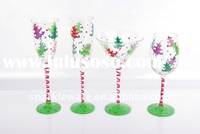 Clear Glass Collection w/hand-painted christmas tree
