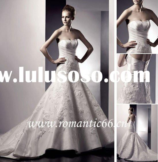 Clearancesale satin short front and long back wedding dresses