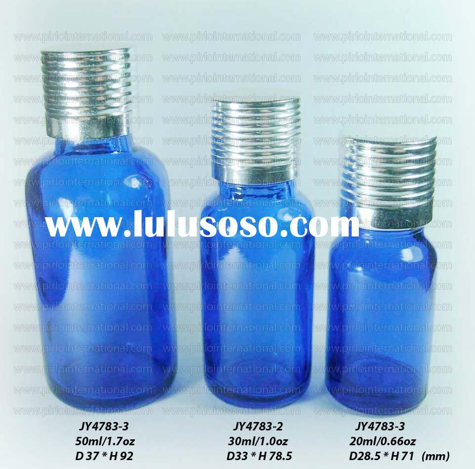 Cobalt Blue Glass Essential Oil Bottle With Aluminum Screw Cap And Orifice Reducer