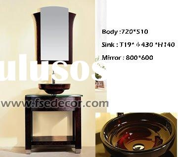 Contemporary Desgin Free Standing Bathroom Vanity with tempered glass sink