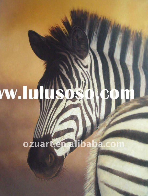 Contemporary abstract animal oil painting of zebra on canvas