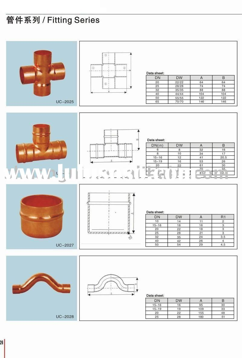 Refrigeration copper fitting dimensions