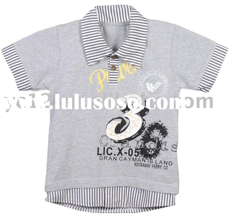 Cotton Knit Print and Embroidery Short Sleeve Polo T Shirts for Boys