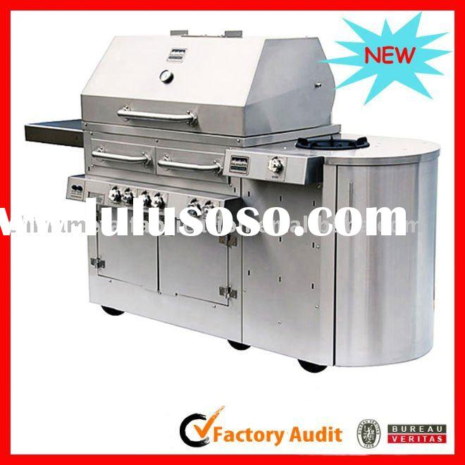 Custom Stainless steel Hybrid, charcoal, wood, and gas barbecue grill