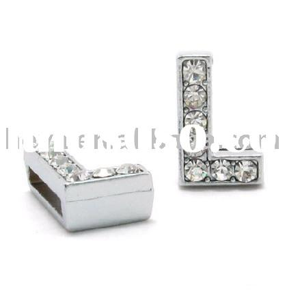DIY rhinestone letter slide charms for bracelet and pet collar