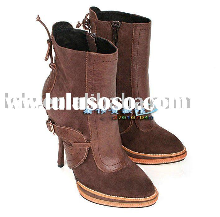 Dark brown authentic leather women high heel boots D06 EU35-40