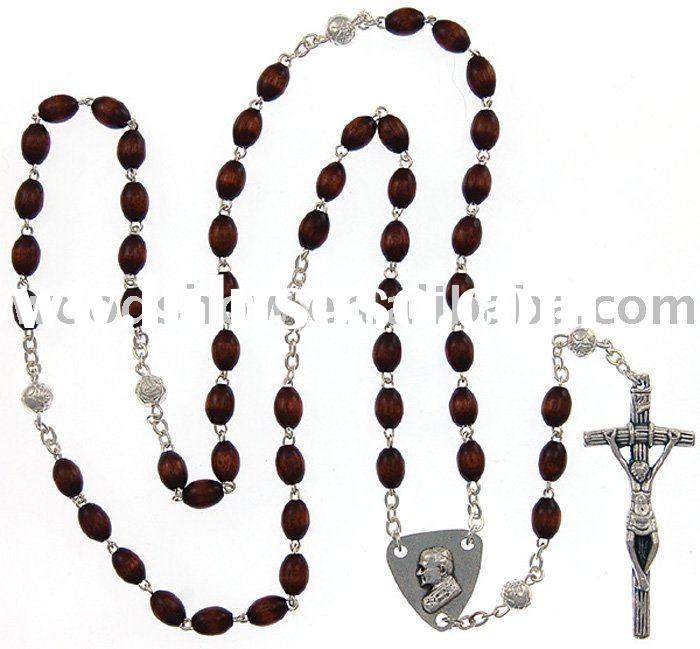 Dark wooden beads religious rosary,with Jesus cross alloy pendant necklace