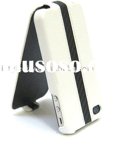 Deluxe Carbon Fiber Leather Flip Case for Apple iPhone 4 (White)