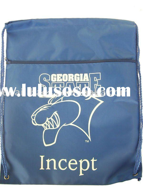 Drawstring bag with front zipper pocket