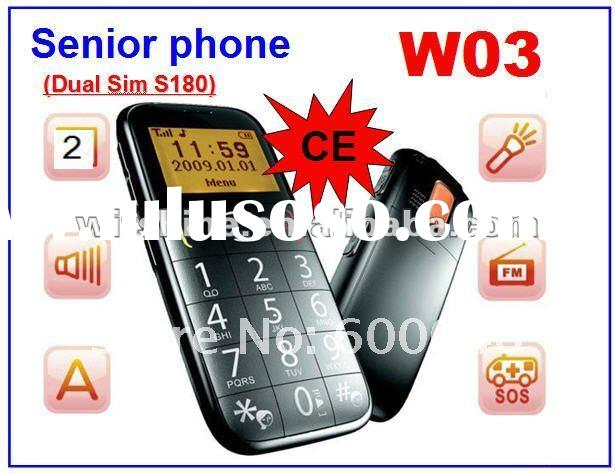 Dual SIM S180 Cheap Cell Phone W03 Senior Phone with Talking Keys SOS FM Torch