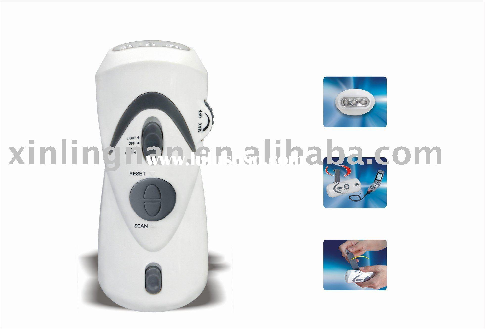 Dynamo charger,dynamo torch charger, LED dynamo torch with radio and phone charger (XLN-283A)