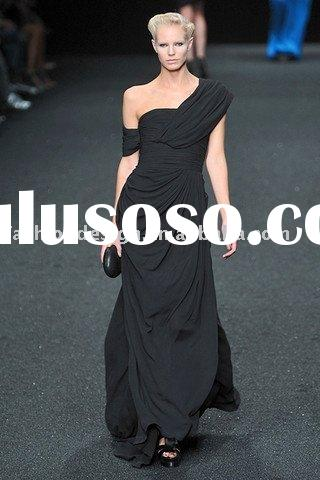 ES996 2011 elegance fashion stage one shoulder black chiffon floor length evening dress