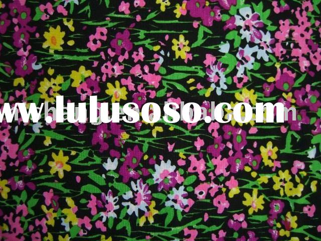 Eco-friendly!!! flower pattern printed bamboo fabric with spandex