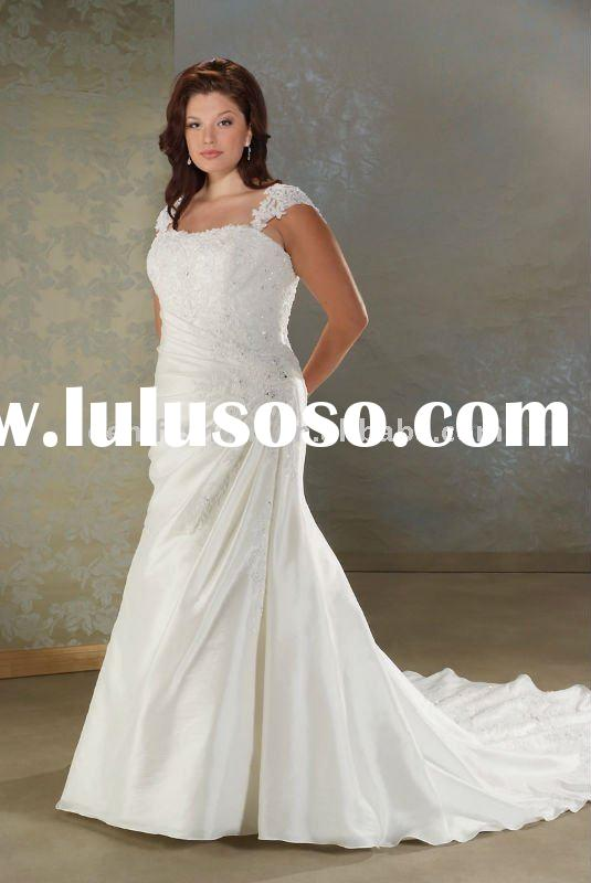 Elegant Mermaid Lace Applique Satin Plus Size Wedding Dress HL-PWD2039