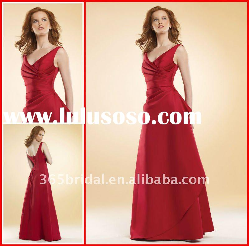 Elegant Red A-line Satin Bridesmaid Dress 2012