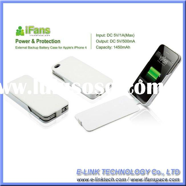 External Power Station Rechargeable Leather Cover Charger for iPhone 4