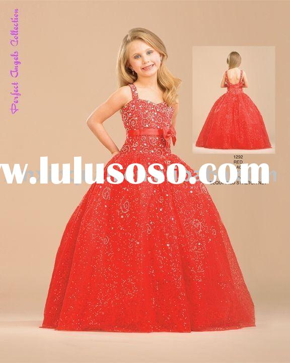 FG044 Free Shipping spaghetti strap beaded embroidered ball gown red party dress for children