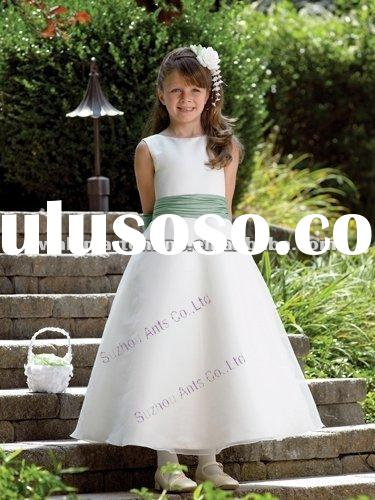 FL088 A Line Round Neckline Sash Satin Ankle Length Vintage Flower Girl Dresses Patterns