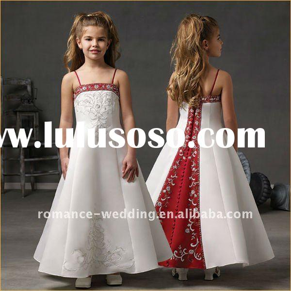 FU0013 Embroidered Satin Ankle Length Flower Girl Dress