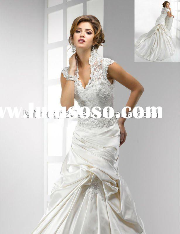 Fabulous V High Neck Cap Sleeve Crystal Lace Satin Wedding Dress