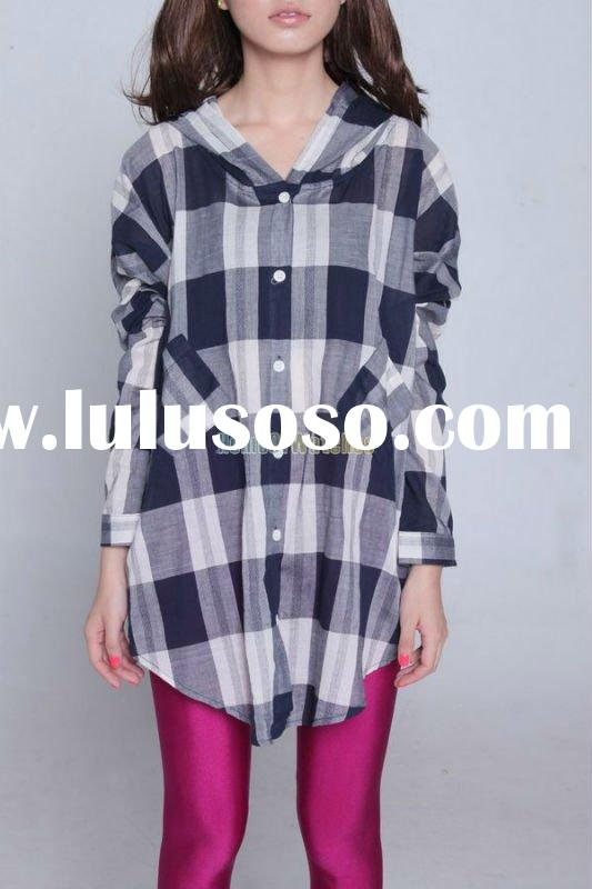 Fashion Dark Blue And White Elegant Plaid Shirt Lady women's shirts Causual long sleeve shir