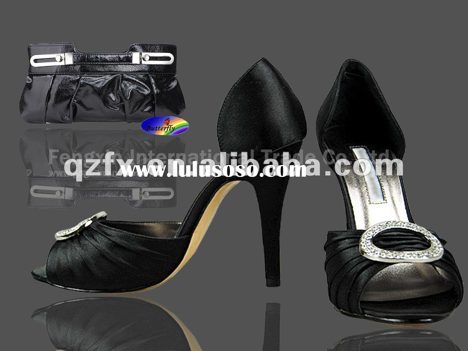 Fashion party high heel shoes ,wedding matching night bags (crystal shoes and pu bags)