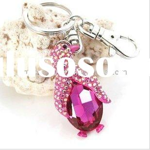 Fashion zinc alloy penguin keyring rhinestone key ring high quality metal keychain customise key cha
